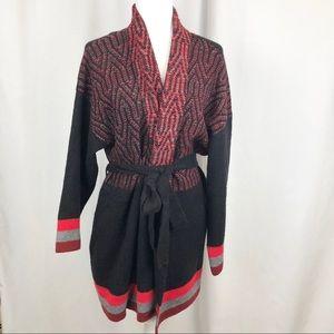 NWT MaxSport Open Tie Cardigan Aztec Tribal print